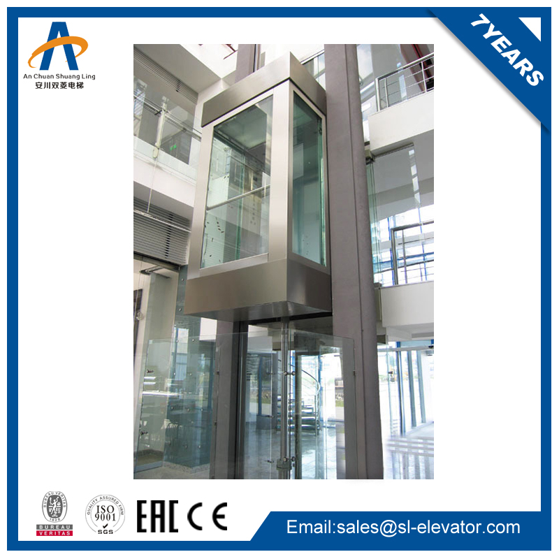 Cheap Residential Hydraulic Lift Panoramic Glass Elevator