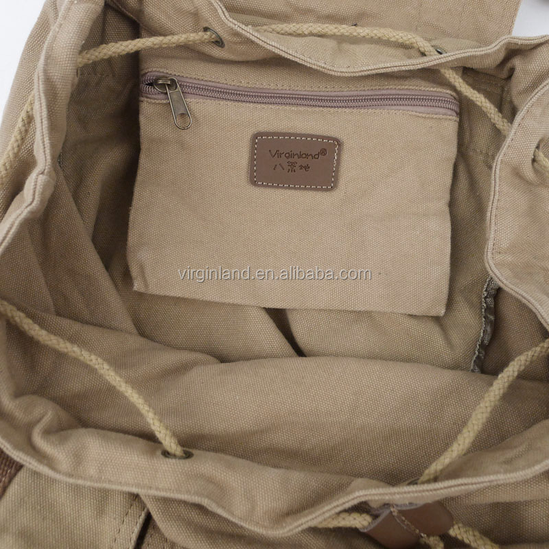 2350 Army Green Business Men's Vintage Canvas Male Backpack Bag with Leather Trim