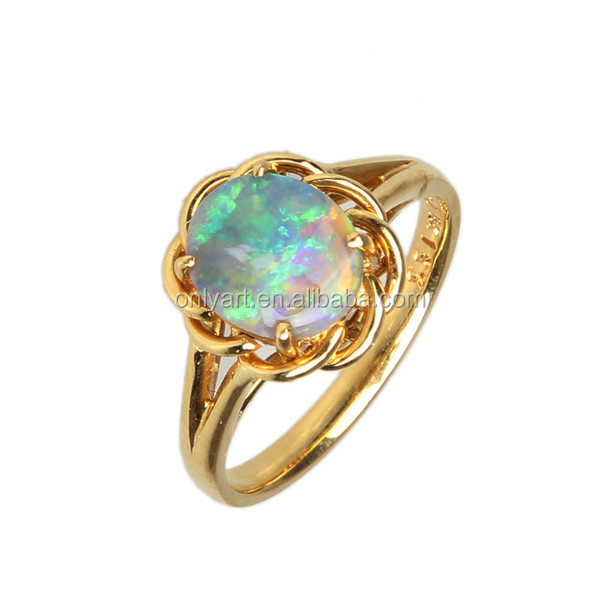 small order engagment gold opal jewelry 750 18K ring solid gold opal ring
