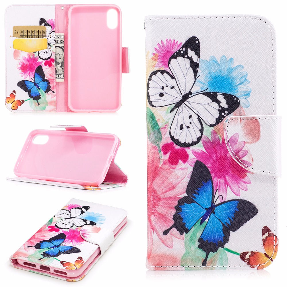 Hot Selling Cover Phone Case Magic Girl Leather Flip Case Cover For iphone x Protective Flip Stand Wallet Leather Case Cover