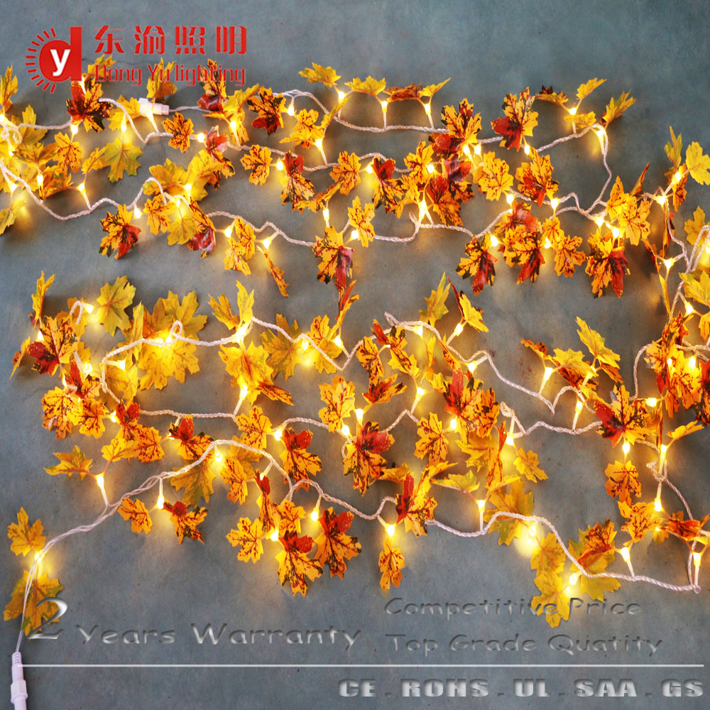 2016Newest 10M artificial maple leaves solar led string light