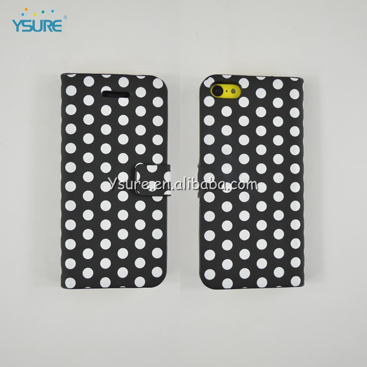 Simple Style PU leather case For iPhone 5c with White Spot , big magnet and support ability that easy to watch video