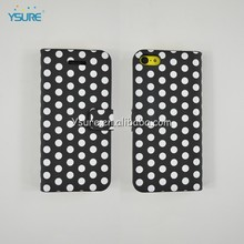 Simple Style PU leather case For iPhone 5c with White Spot,big magnet and support ability that easy to watch video