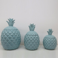 gold galvanized home decorative large ceramic pineapple storage candle jar