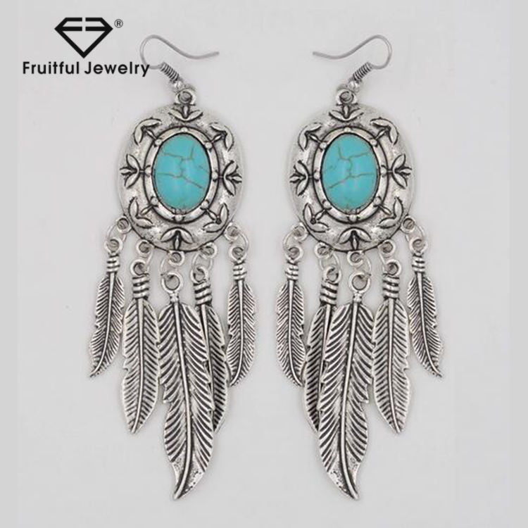 Latest Design Antique Silver Turquoise Earrings Bohemian <strong>Jewelry</strong> Wholesale