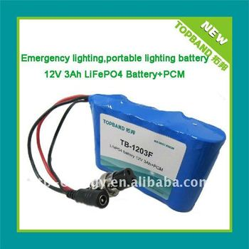 Emergency light Battery LiFePO4 12V3Ah