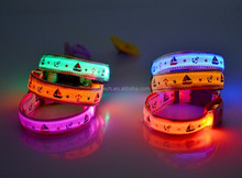Pet Dog Collar Night Safety LED Light-up Flashing Glow in the Dark Lighted Dog sailor pattern Collars