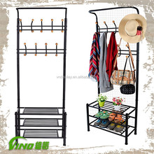 Hot Sale Retail Clothing Store Hanging Furniture, Metal Hallway Coat Rack With Bench & Hook,3 Tiers Shelves for Shoe Storage
