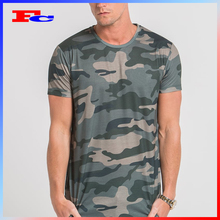Print Your Logo On160GSM 90% Polyester 10% Spandex Dark Green Camo Sublimation Tee T-Shirt OEM Sports Wear