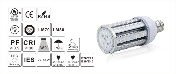 E 27 E40 450 degree light Courtyard Corn Light SAMSUNG II Chip 100 watt led corn light led lamp