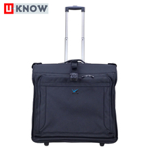 High density 600D polyester large capacity travel luggage wheeled garment bag