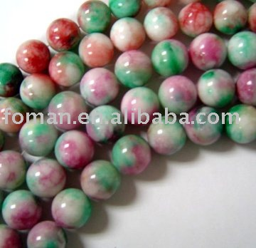 16mm round color dyed white jasper big stone beads