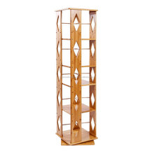 Bamboo 5 Tiers Revolving Bookcase with 5 Adjustable Multipurpose Book Shelves