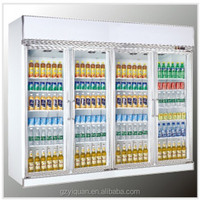 4 side 4 doors supermarket glass display refrigerator, beverage upright display cooler, cold drink showcase