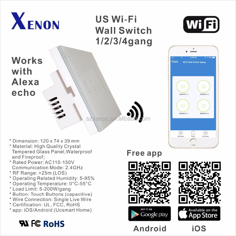 Xenon WiFi switch works with Amazon Alexa echo smart turn on/off touch US Panel switch Max 10A remote control Switch