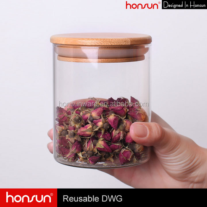 Top Factory Transparent Glass Jar with Wooden Lid