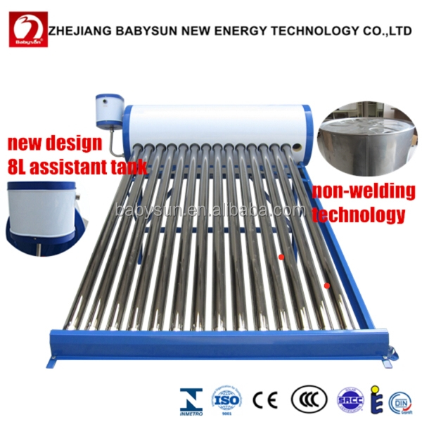 Factory price non pressurized solar water heater with 8L assistant tank, solar hot water heating system, solar water geyser