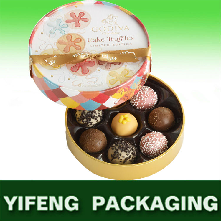 Round and White India Wedding Favor Gift box with Ribbon