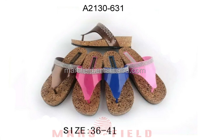 PVC jelly upper print cork sole women slipper