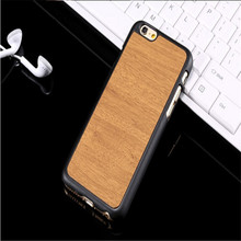 S6 Cover Wood Grain Case PC Leather Hybrid Phone Protective Shell Hard Carry Case for iPhone 6 6 Plus for Samsung Galaxy S6