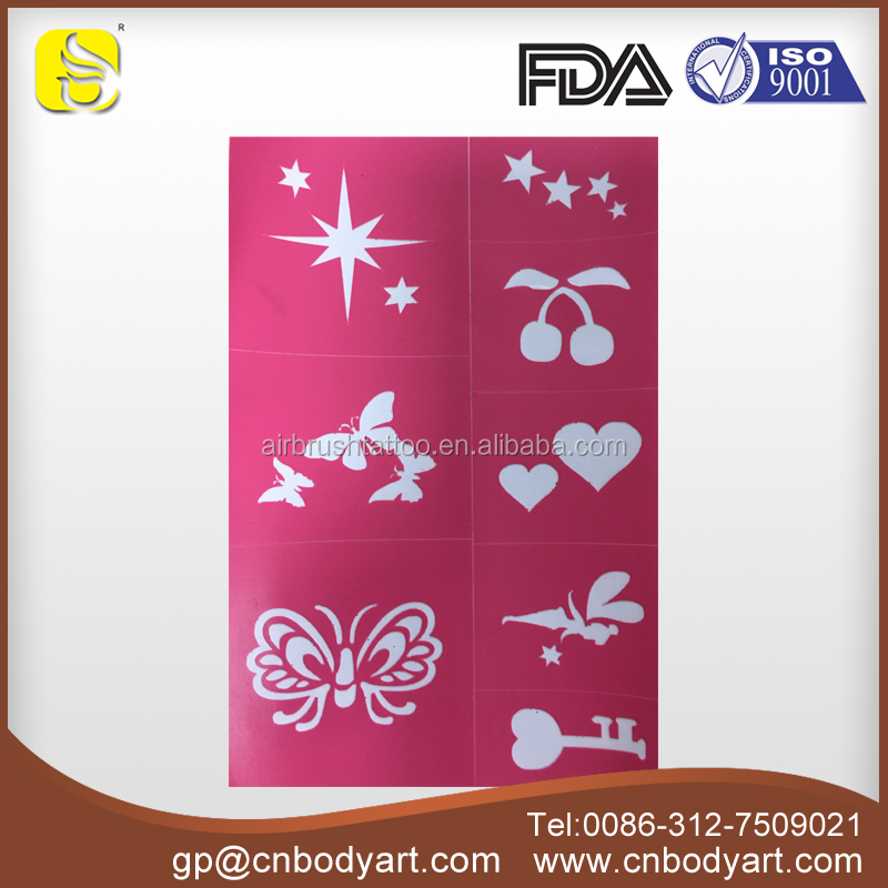 Best selling products More images in one sheet Adhesive Reusable Face and Body Glitter tattoo Stencils