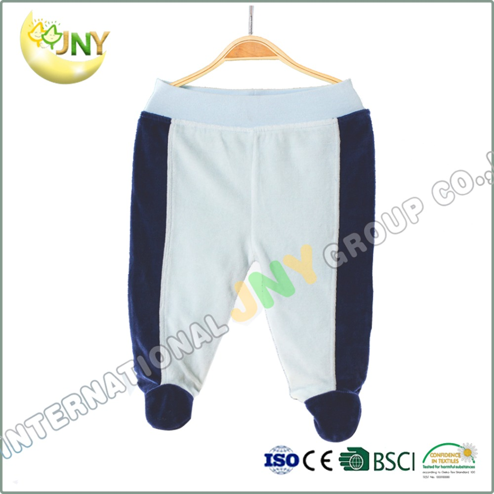 Dark and light blue warm winter baby pants with feet