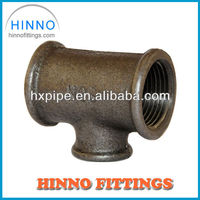 Hebei malleable iron pipe fitting black reducing tee 130