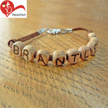 Different color can make saints wooden letter beads olive chain bangle rosary bracelet