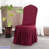 Burgandy colour lycra chair cover with skirt all around the chair bottom spandex skirt chair cover for wedding party decoration