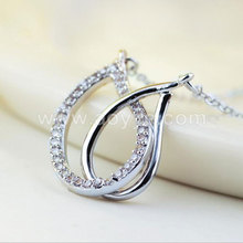 New fashion gift wholesale water drop zircon foreign trade creative love double dual ring collarbone pendant necklace