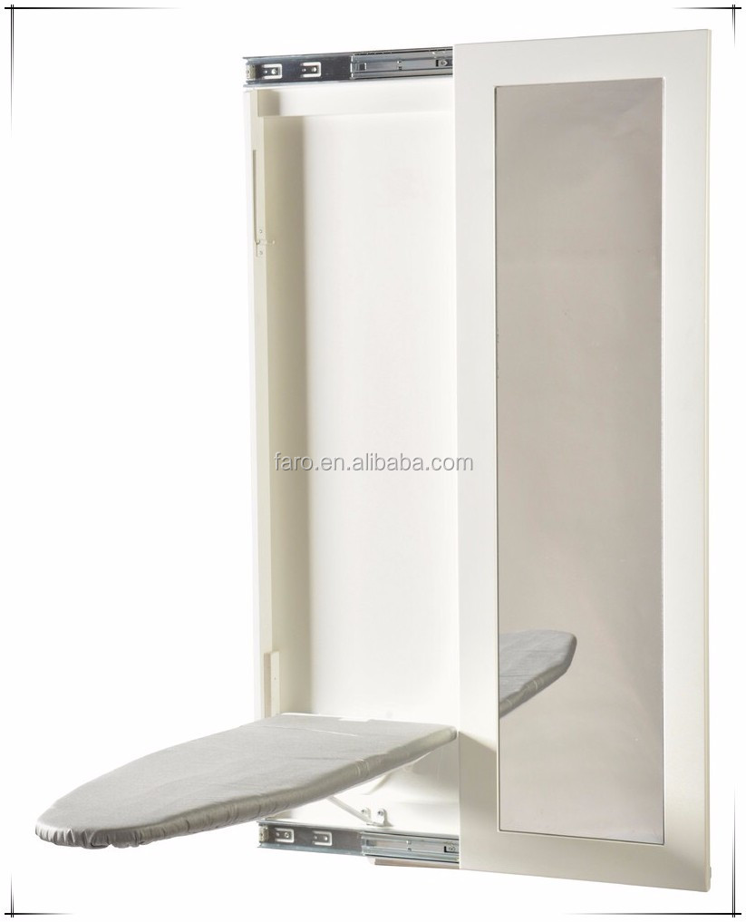 2016 hanging wall mounted white ironing board with mirror. Black Bedroom Furniture Sets. Home Design Ideas