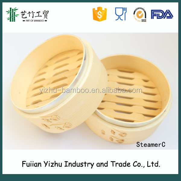 Bamboo Round Steamers with aluminum ring