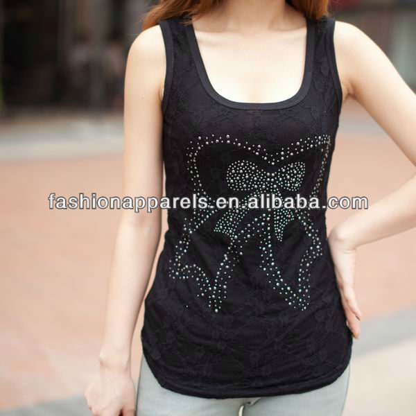 OEM tank tops wholesale decorated bow rhinestone