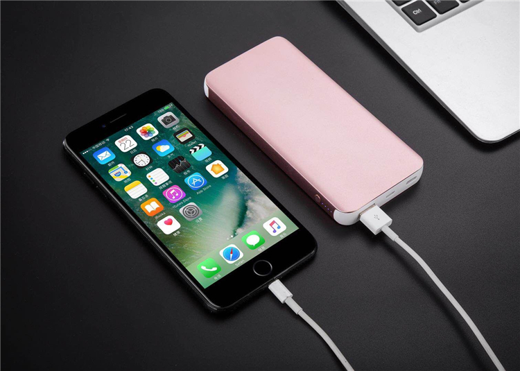 Metal 10000mah slim type c qc3.0 power bank for iPhone and for ipad