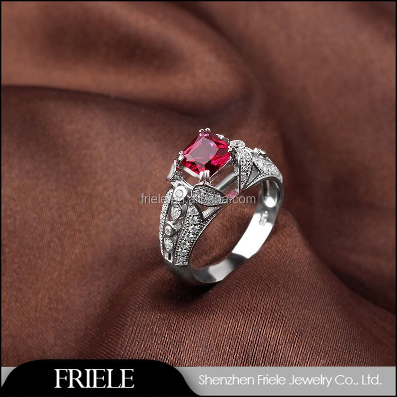Shiny polished ruby crystal jewelry display latest beautiful ring for men