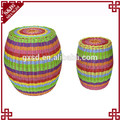 S&D Colorfu pe rattan wicker eco-friendly Plastic rattan stool sex indoor and outdoor furniture ottoman