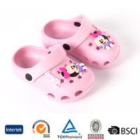 2016 latest cheap price bulk sale anti-skid slip on open toe custom logo printed kids cartoon pink eva garden clogs