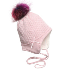Myfur Children Girls Cotton Hat with Fleece Lining Earflap Braid Beanie Cap