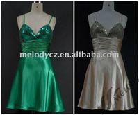 Formal occassion nighty party spaghetti strap sequined chest glamorous short dress