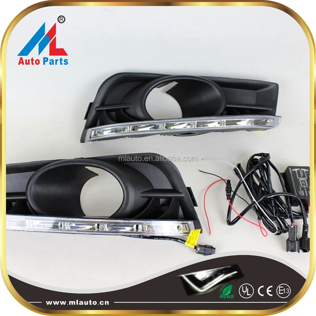 Chevy Cruze 09-14 LED Front Bumper Fog Light Covers Daytime Running Lights DRL