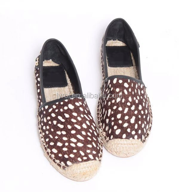 2017 health shoes for women dots fake horse hair shoes jute sole espadrille