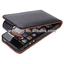 New Genuine Leather Flip Case for iPhone 5 5G 4G LTE AT&T / Verizon / Sprint CDMA GSM Version - Black