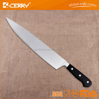 stainless steel professional chef knife with wide blade and pom handle