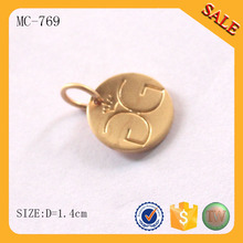 MC769 Custom made engraving cheap gold pendant metal jewelry tags wholesale
