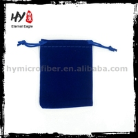 Plastic large drawstring velvet gift bags with high quality