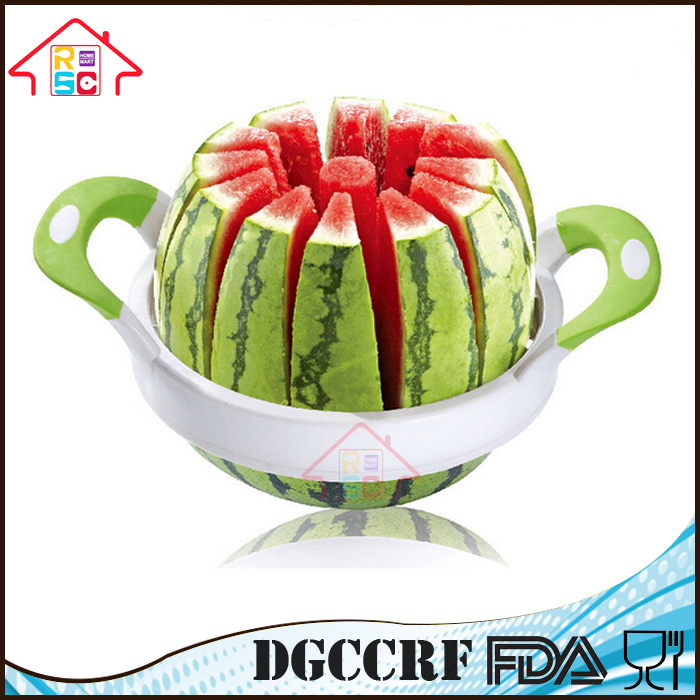NBRSC Multifunctional Melon Watermelon Cantaloupe Stainless Steel Slicer Vegetable Fruit Cutter with Handles, 12 Slices