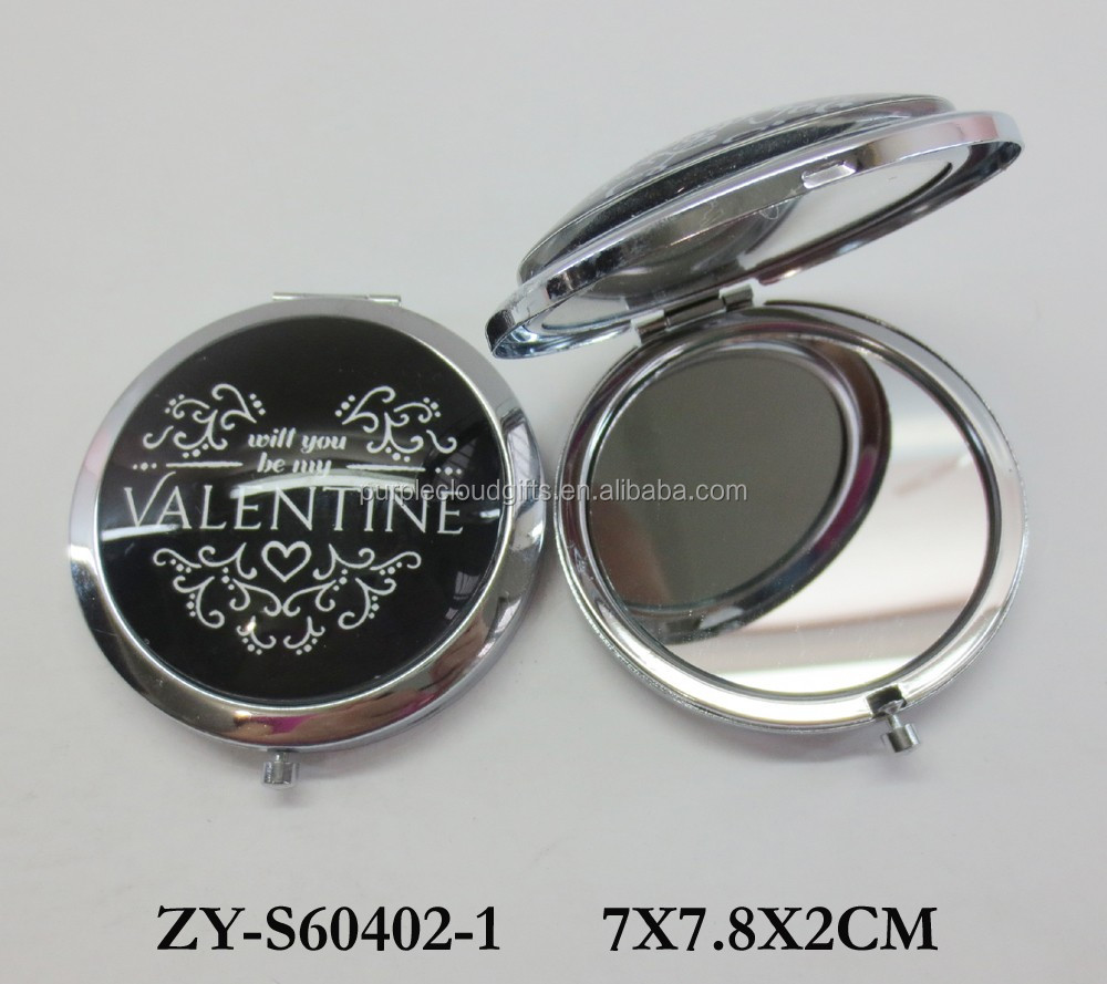 valentines day gifts compact mirror, small round mirror, metal hand mirror