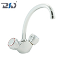 Chinese Brass Deck Mounted Dual Handles Durable Kitchen Faucets Mixer Chrome Centerset Sink Faucet For Bathroom