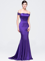 Trumpet/Mermaid Off-the-Shoulder Court Train Satin Beading Sequins Lace Evening Dress