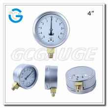 High quality 4inch bottom stainless steel millibar biogas pressure gauge